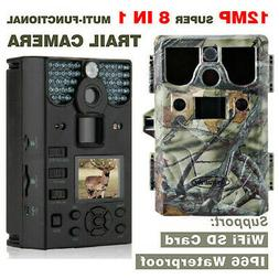 12MP 75FT 8 in 1 HD Hunting Camera WIFI Support TF Card Game