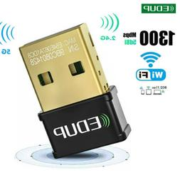 EDUP AC1300Mbps Mini USB WiFi Adapter Dongle for Laptop PC W